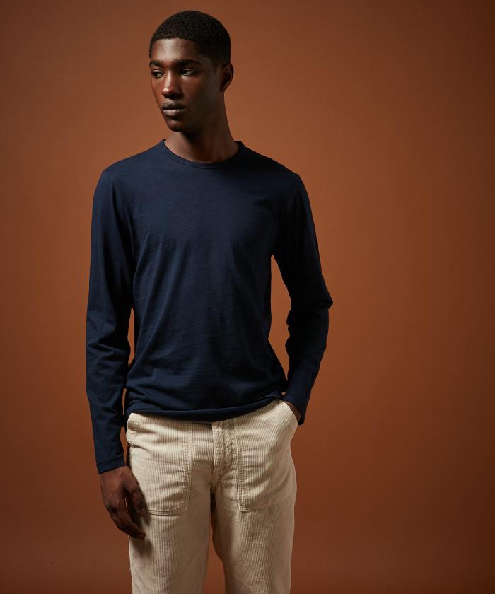 Tee-shirt manches longues coton slub marine
