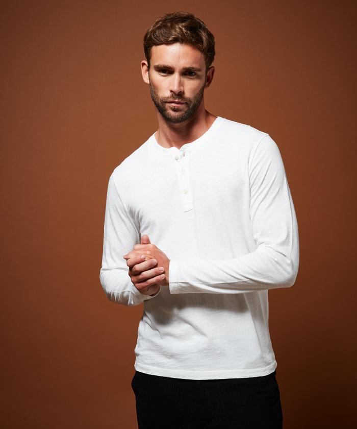 Tee-shirt Henley en coton blanc