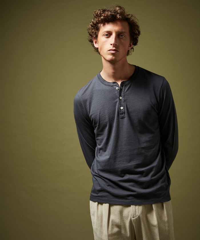 Tee-shirt Henley en coton bleu petrole