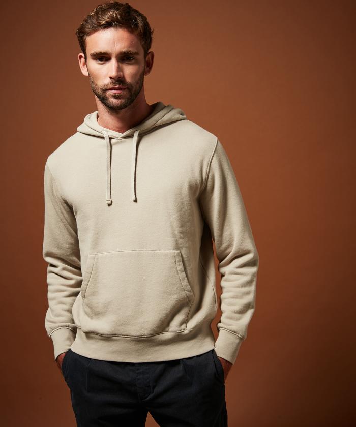 Sweatshirt à capuche molleton beige