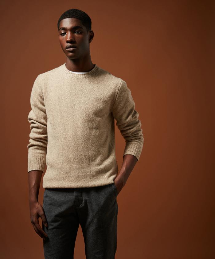 Pull en laine shetland beige