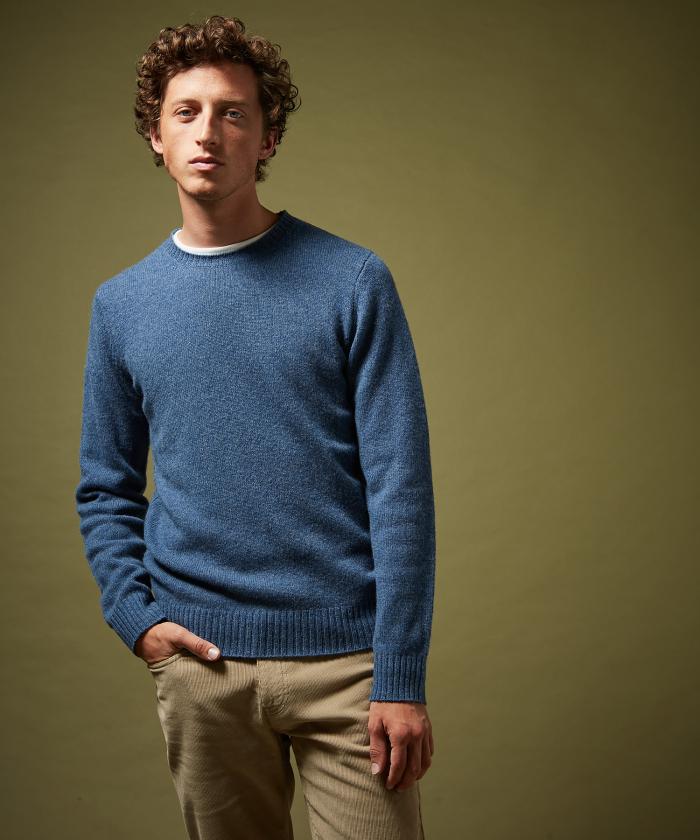 Pull en laine shetland denim