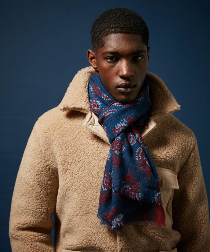 Foulard en laine indigo block print