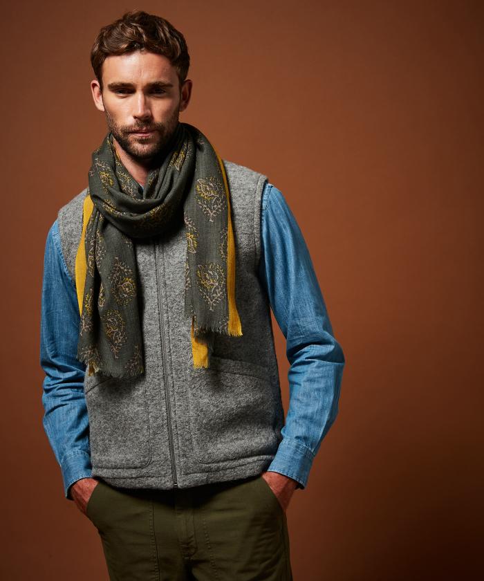 Foulard en laine army block print