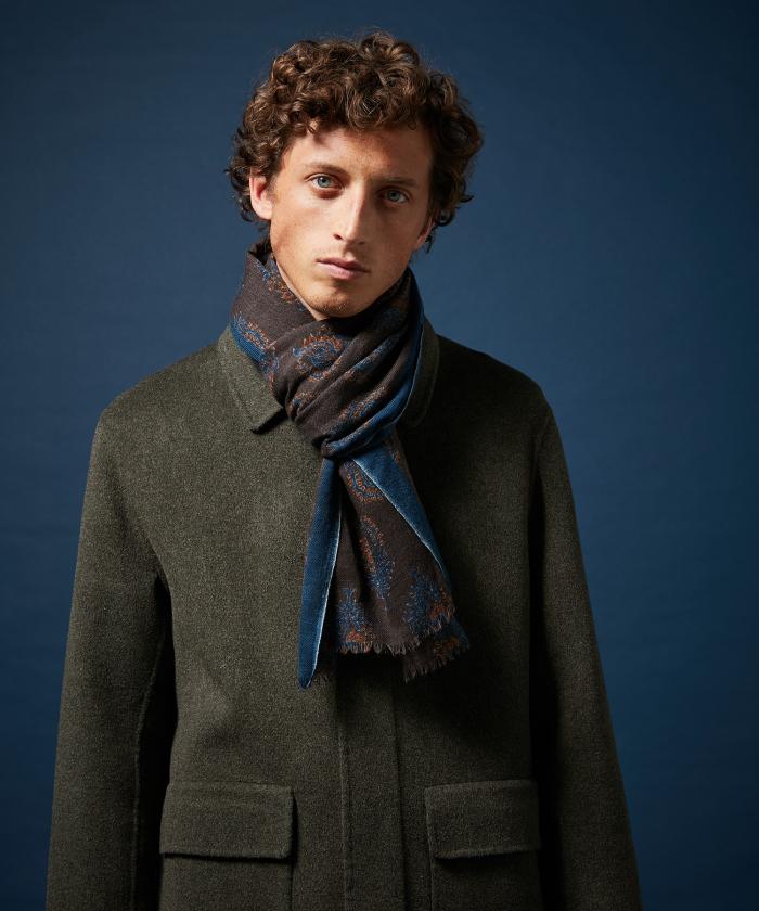 Foulard en laine marron block print