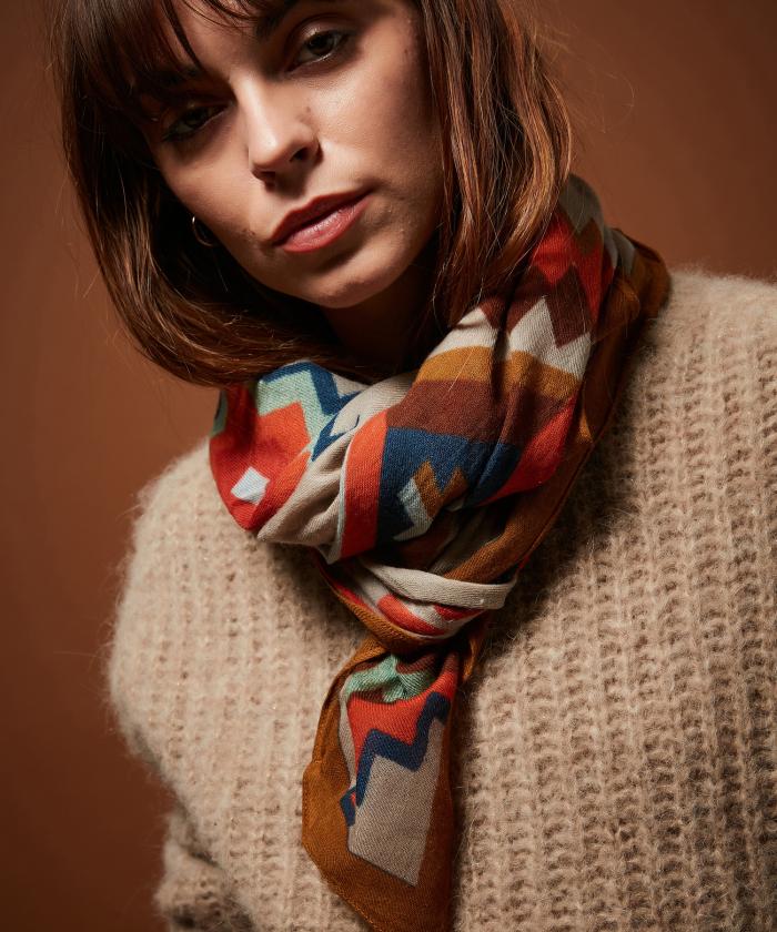 Losange wool square scarf