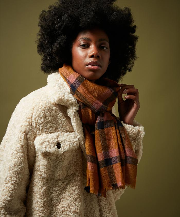 Gold Tartan wool scarf