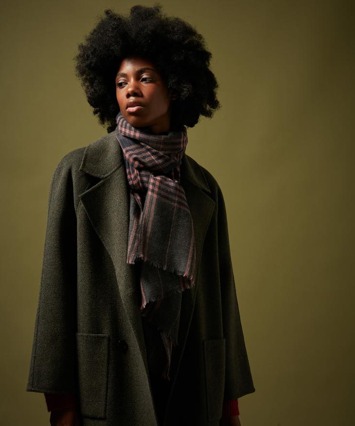 Pink Tartan wool scarf