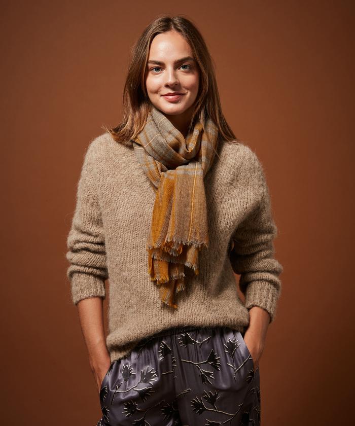 Greige Tartan wool scarf