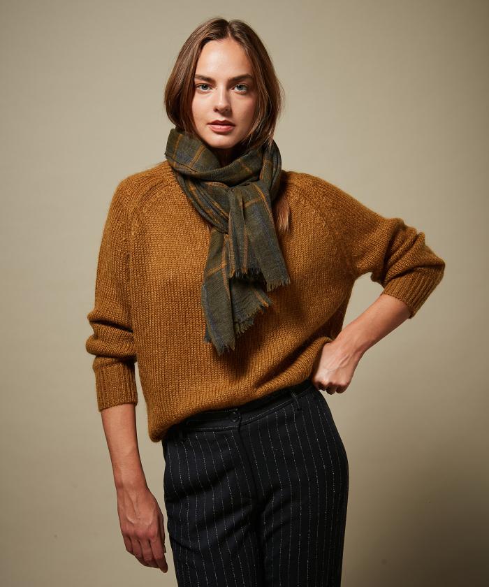 Grey Tartan wool scarf