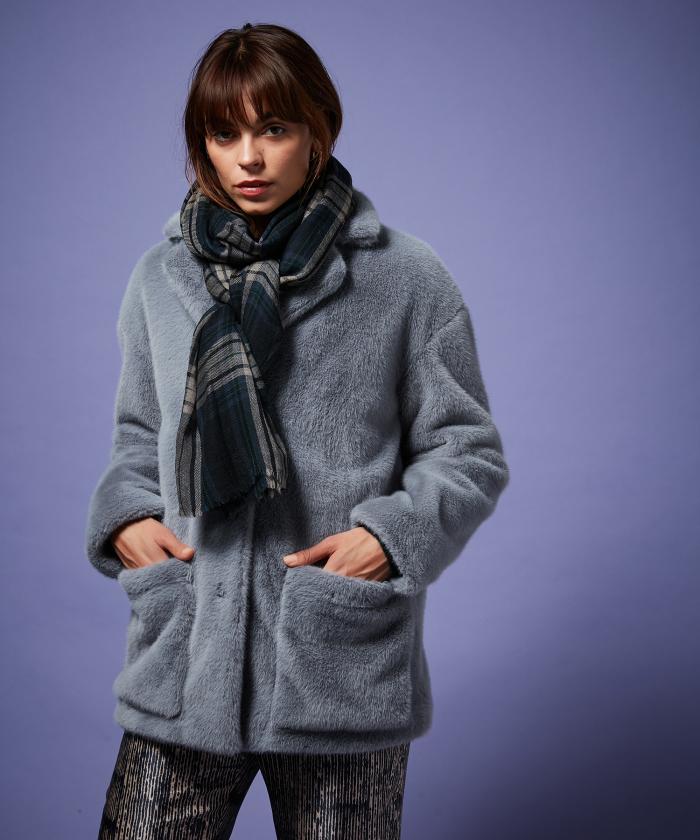 Blue Tartan wool scarf