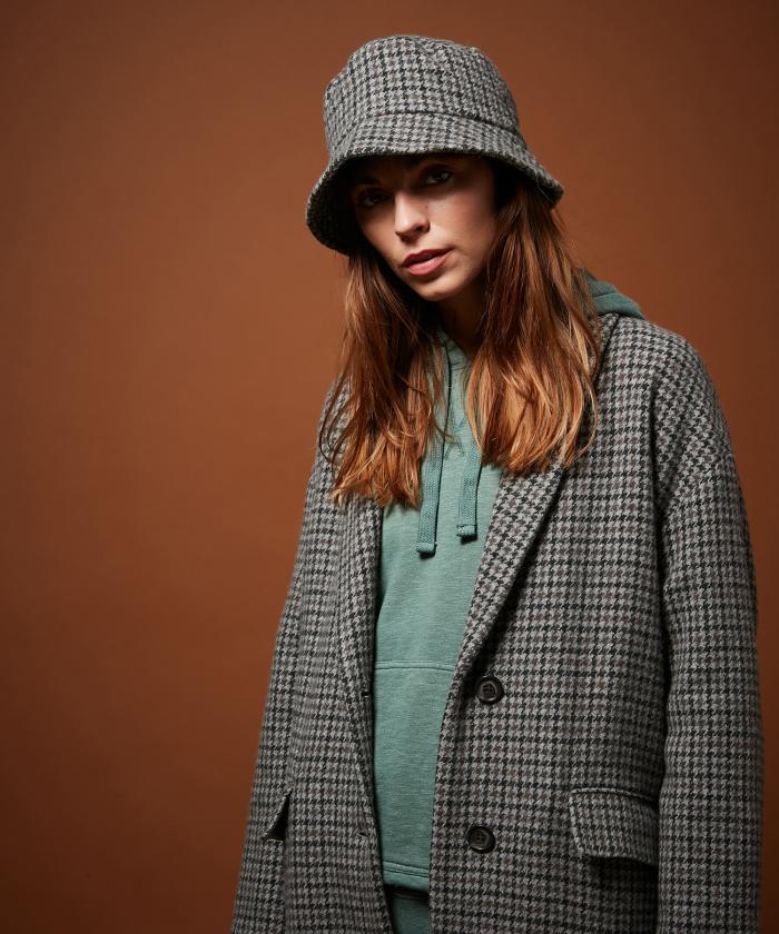 Houndstooth wool bucket hat