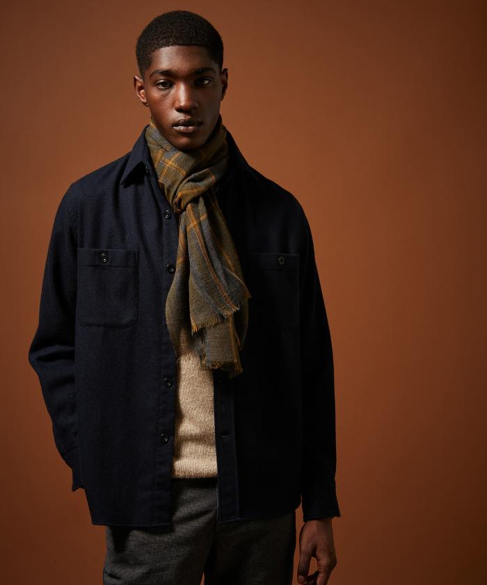 Foulard en laine Tartan gris