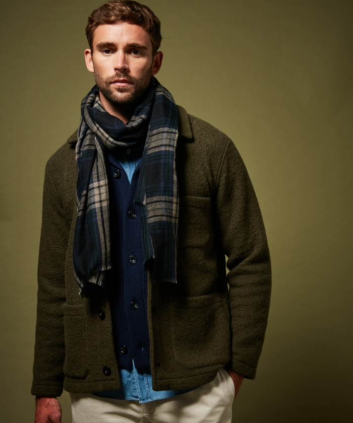 Foulard en laine Tartan bleu