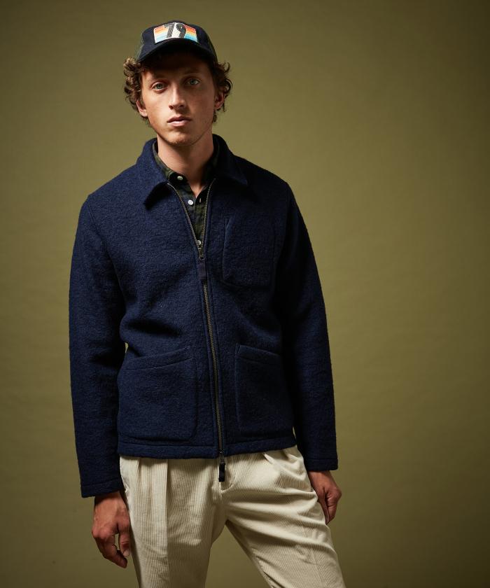 Casquette '1979' en laine bleue marine
