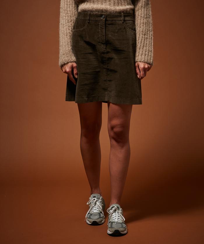 Army velvet garment-dyed skirt