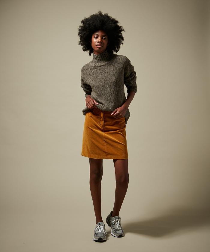 Camel velvet garment-dyed skirt