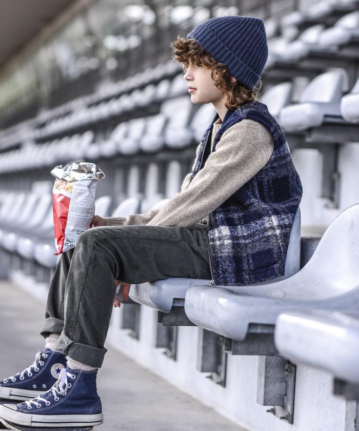 Pull enfant en laine shetland beige