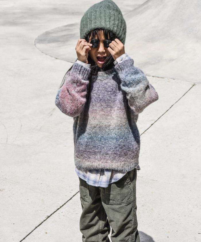 Bonnet fille en laine alpaga amande