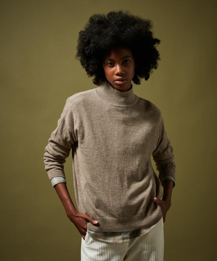 Pull Myline col montant en alpaga et laine