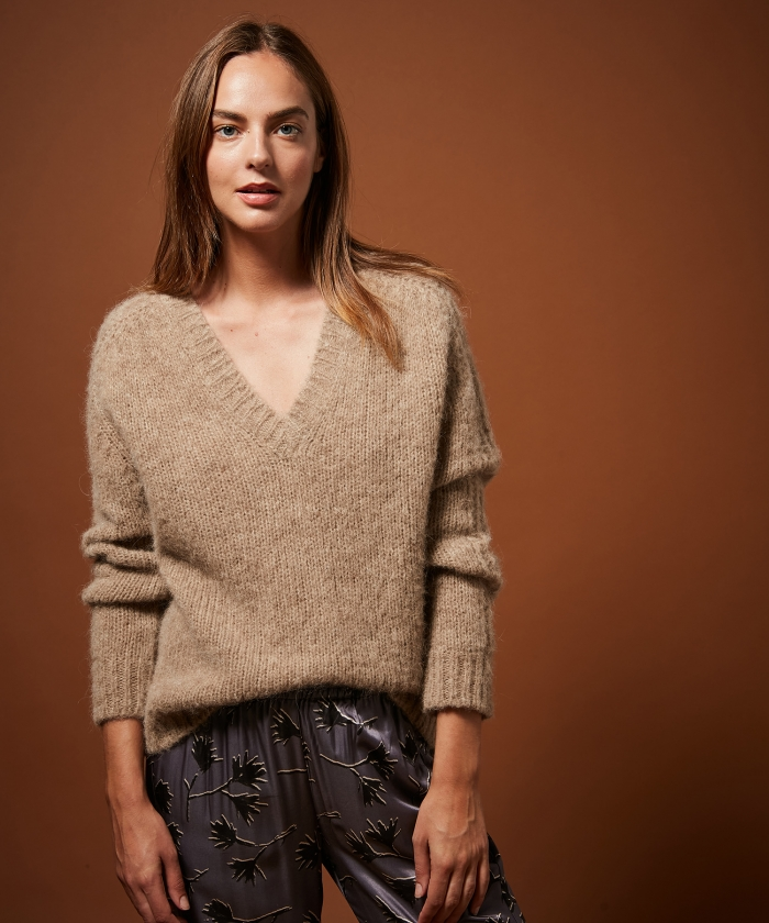 Pull Milane en laine alpaga beige