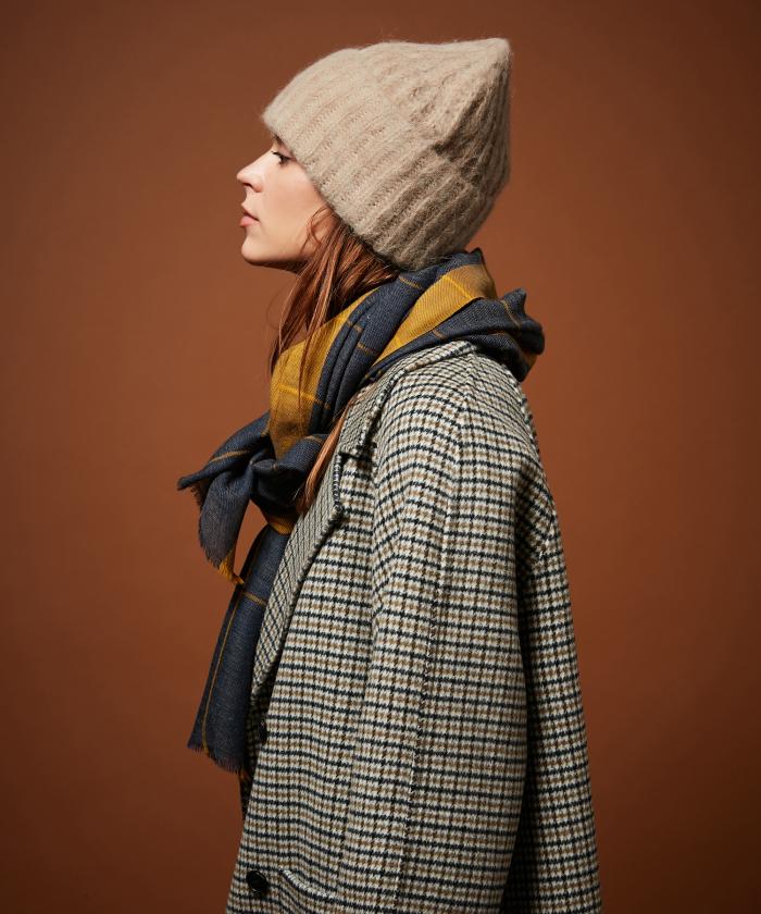 Beige alpaca wool beanie