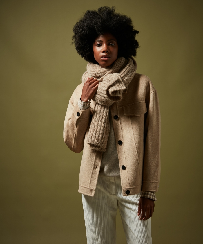Beige alpaca wool scarf