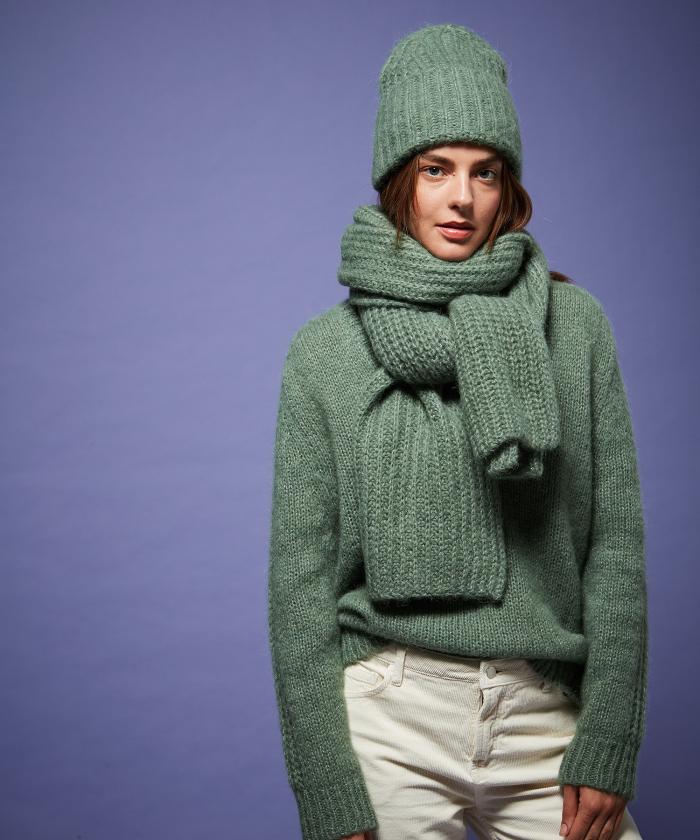 Almond alpaca wool scarf