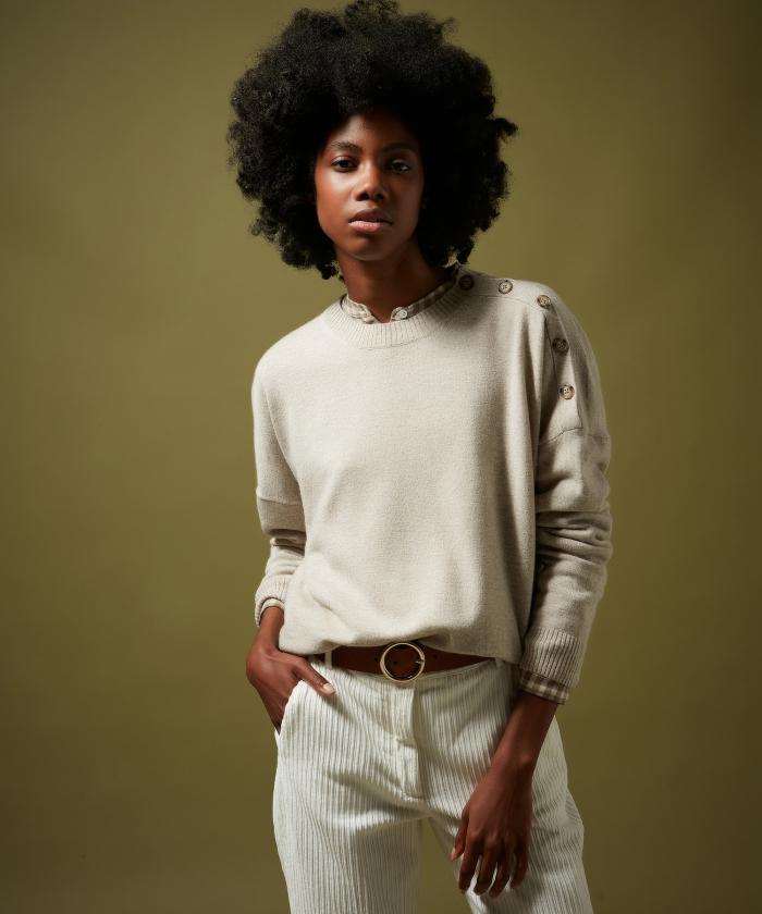 Pull Marcia en laine et cachemire beige