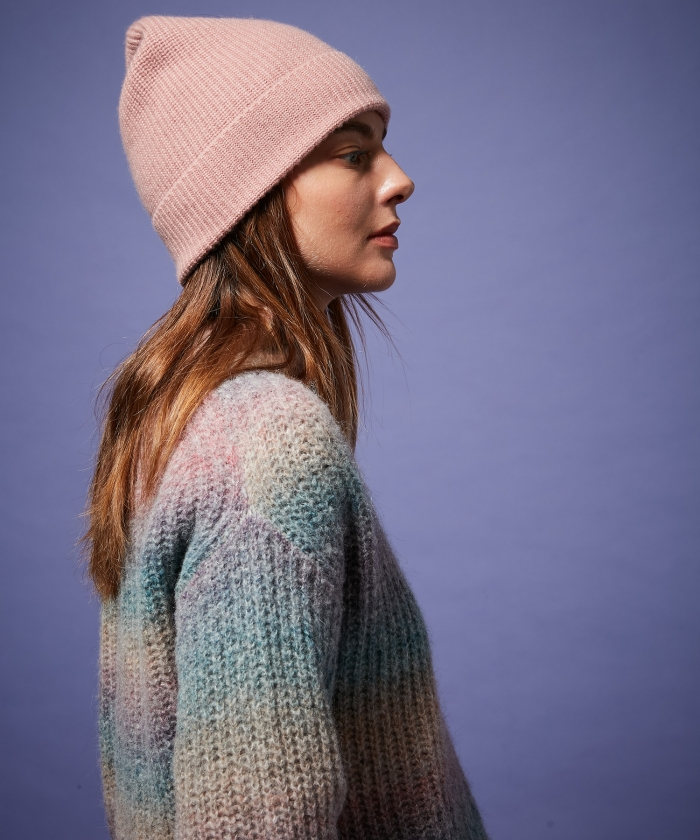 Pink wool and cashmere beanie