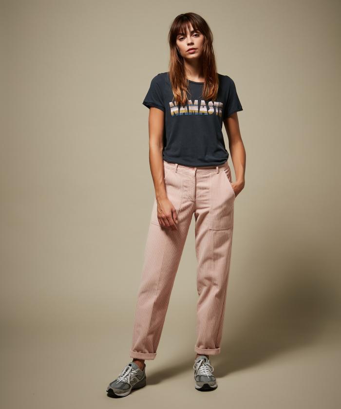 Pantalon Pastora en velours rose