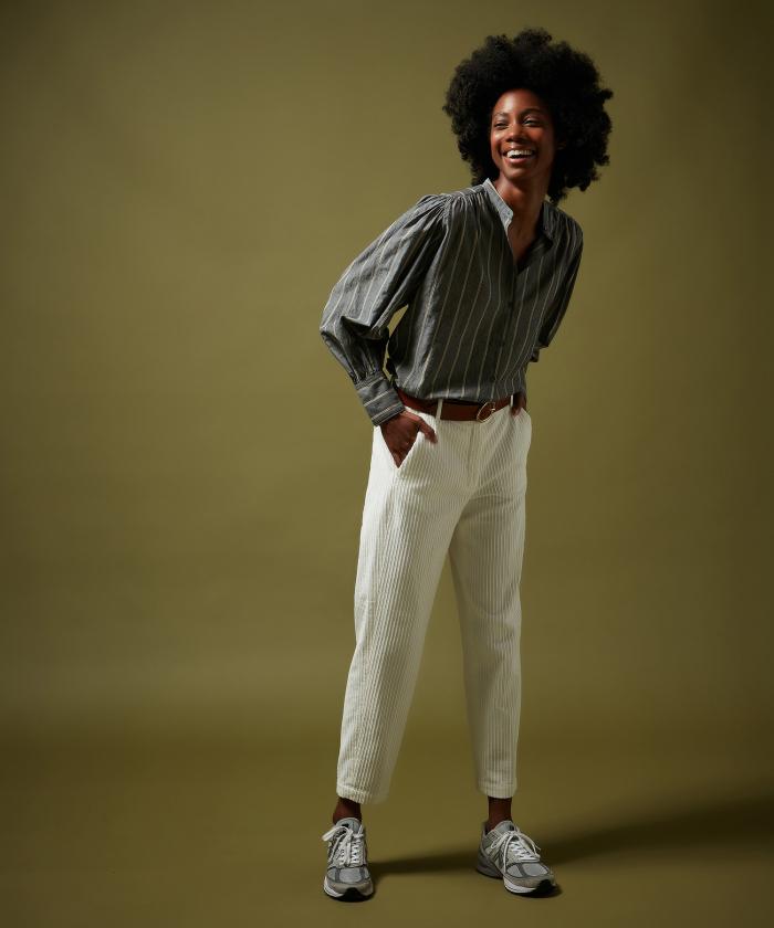 Pantalon Perfect en velours écru