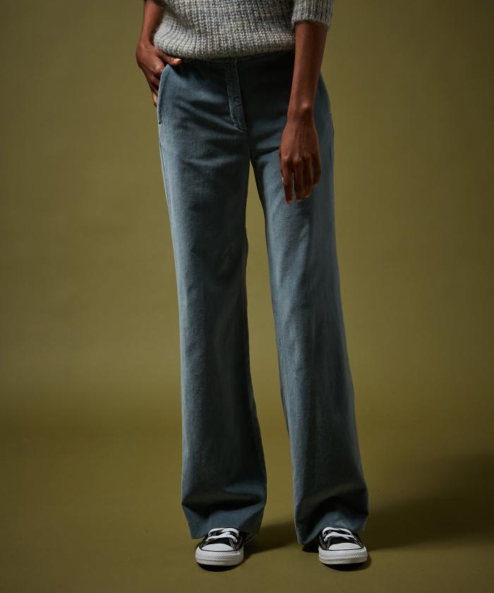 Pantalon Prago en velours bleu