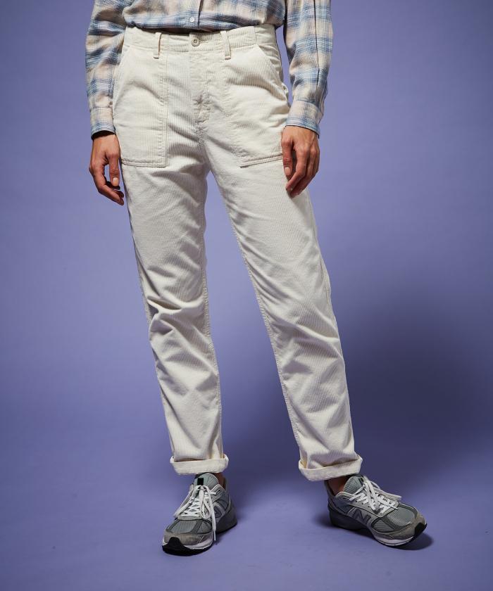 Pantalon Parvine en velours écru