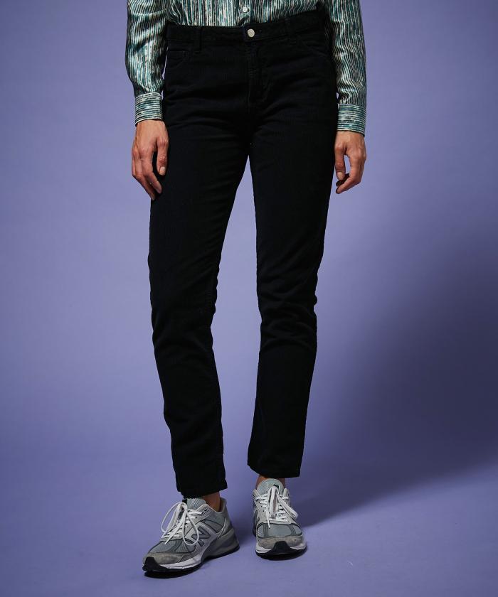 Pantalon Pencil en velours côtelé noir