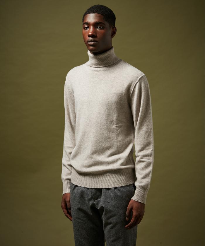 Pull en laine et cachemire col roulé gris