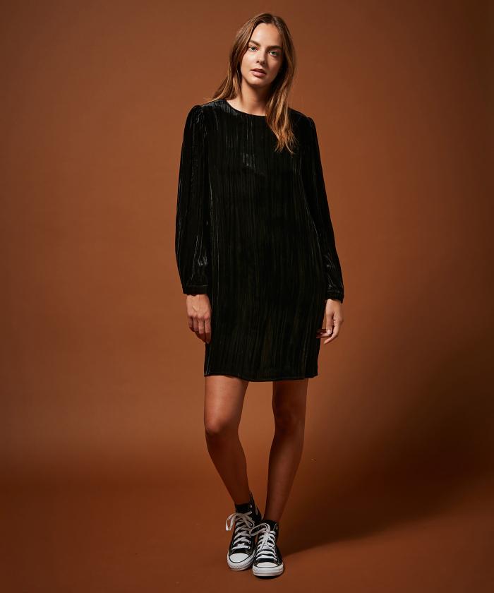 Robe Rika en velours froissé noir