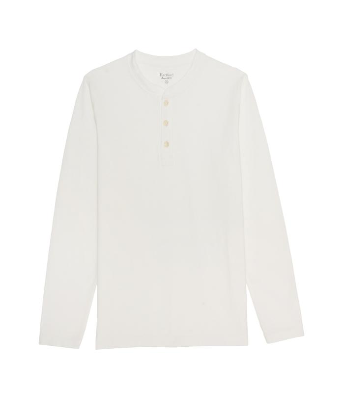 Tee-shirt Henley en light jersey blanc
