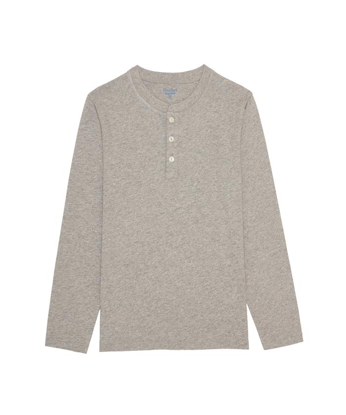 Tee-shirt Henley en light jersey gris