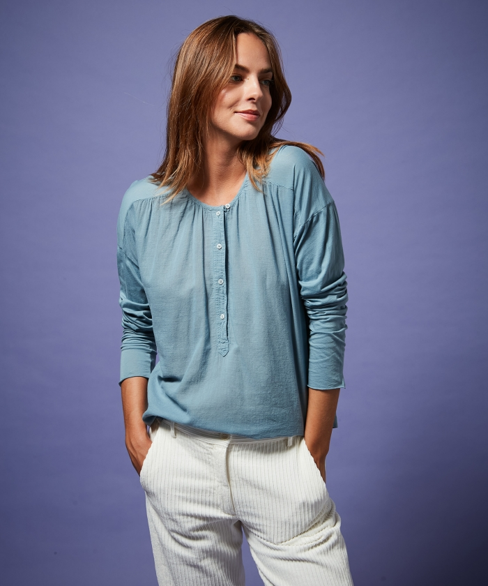Tee-shirt Tudval en double-fabric bleu