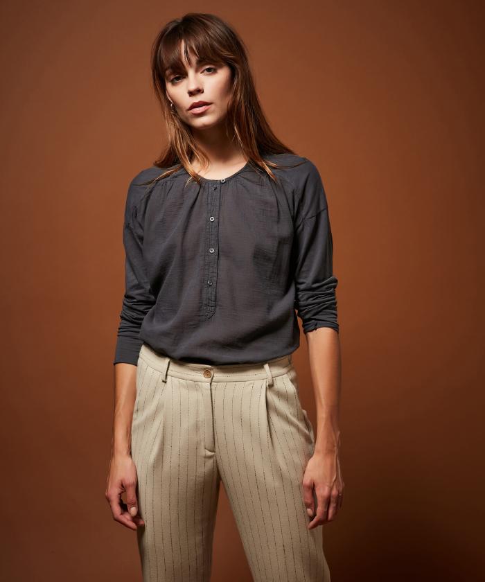Tee-shirt Tudval en double-fabric gris