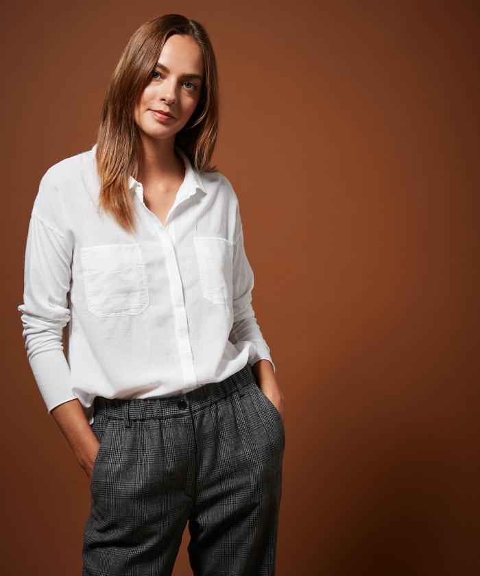 Chemise blanche Taki en double fabric
