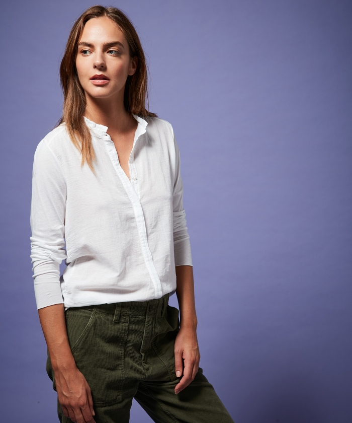 Chemise blanche Talal shirt en double fabric