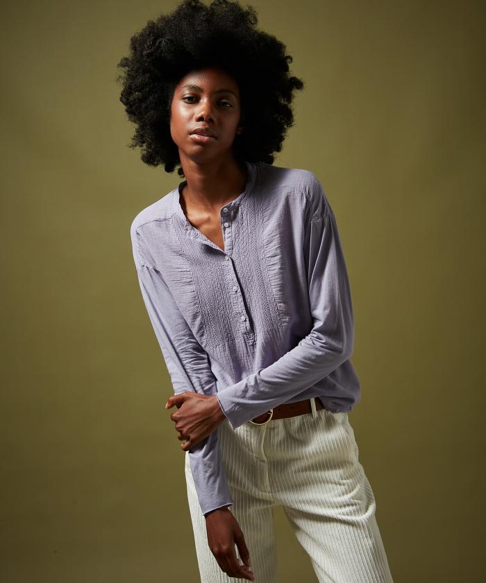 Lavender Tumina embroidered T-shirt