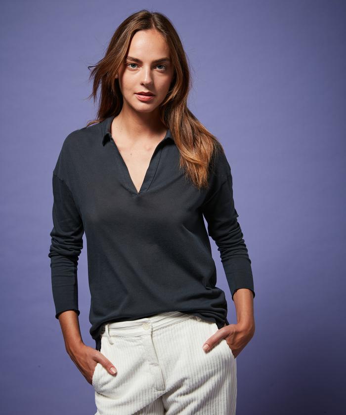 Charcoal Turquin soft cotton modal polo