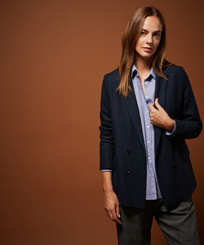 Double breasted navy wool Valette jacket
