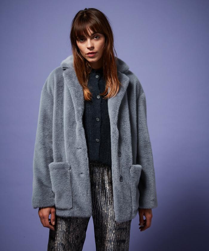 Blue grey fake fur Vlapy jacket