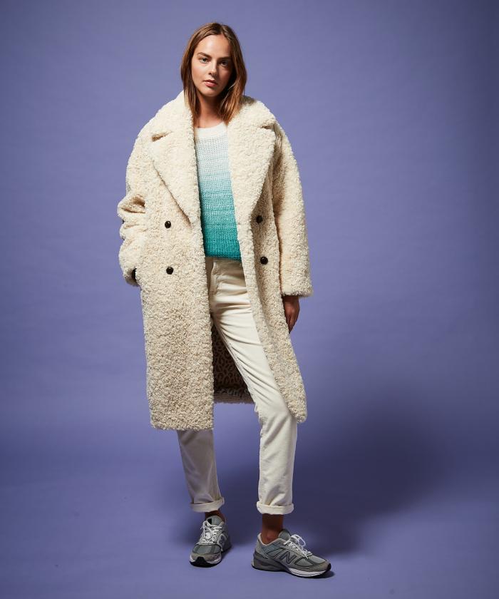 Off-white curly fake fur Vaderi coat
