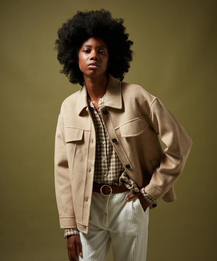 Valmy beige jacket in wool double face
