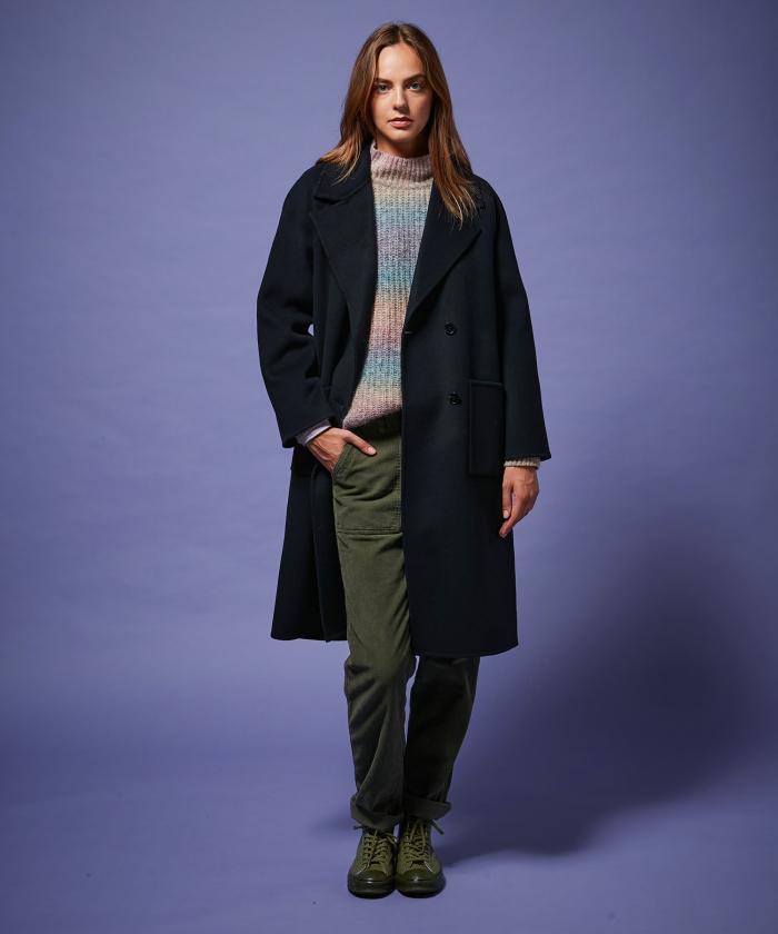 Valene navy coat in wool double face